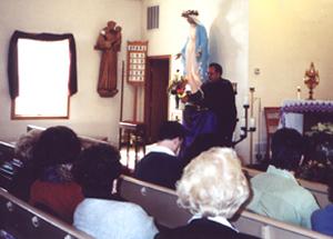 Nick DiGiovanni speaking before Mass