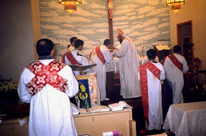 Deacons consume any left-over consecrated bread and wine.
