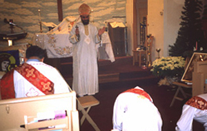 Blessing of the deacons by the priest
